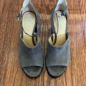 Vince Camuto grey block heels